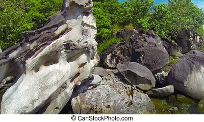 Tropical Tidepool Sheltered by Boulders - Video 1080p -...