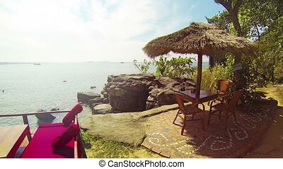 Terrace Overlooking Tropical Cambodian Beach - FullHD video...