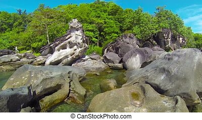 Tropical Tide Pool and Giant Boulders in Cambodia