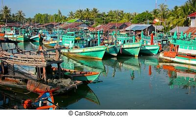 Fishing Boats in the Harbor at Sihanoukville - Large...