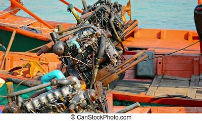 Large Boat Engines Mounted on Wooden Craft - Video 1080p -...