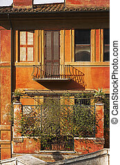Picturesque facade of a residential home in Rome, Italy