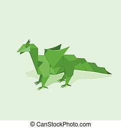 Green dragon - Dragon made of paper in a flat style green...