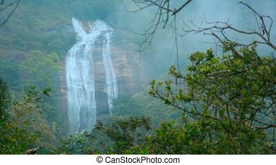 Video 1080p - Picturesque , Natural Waterfall in Asia with Sound