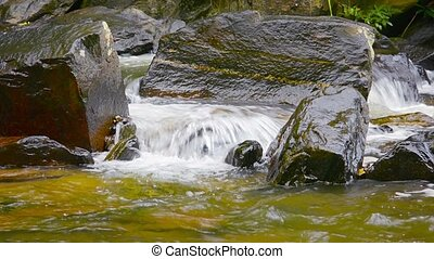 Video 1080p - Mountain Stream Burbling over Rocks with Sound