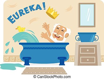 Archimedes In Bathtub - Cartoon illustration of Archimedes...
