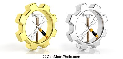 Gears,spanner,screwdriver and hammer isolated on white...