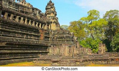 Ancient Stone Ruins at Angkor Wat in Cambodia