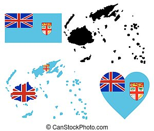 map of Fiji - map flag and symbol of Fiji on a white...