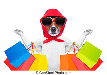 shopping dog - jack russell dog with shopping bags ready for...
