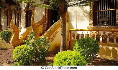 Entrance to Buddhist Temple in Chiang Mai, Thailand - Video...