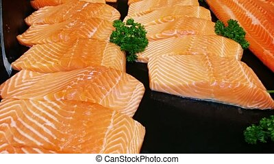Raw Salmon Fillet Steaks at the Supermarket - Video 1080p -...