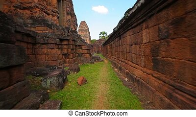 Inside Temple Compound Walls at Angkor Wat - Video FullHD -...