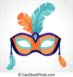 Festive carnival mask on background of confetti