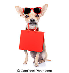 shopping dog - chihuahua dog holding a shopping bag ready...