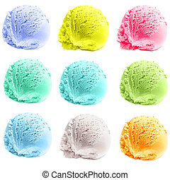 Four isolated scoops of ice cream. Mixed Scoops of green...