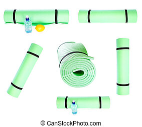 Set of Lightweight foam Yoga Mat roll isolated on white backgrou