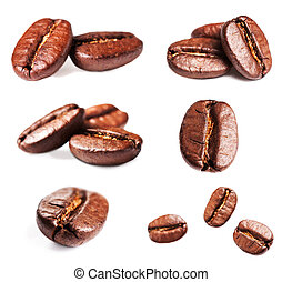 Collection of Roasted Coffee Beans isolated on white...