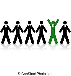 Chosen businessman - Concept illustration showing a line of...