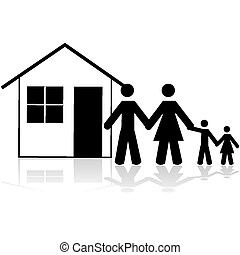Family house - Icon illustration showing a family in front...
