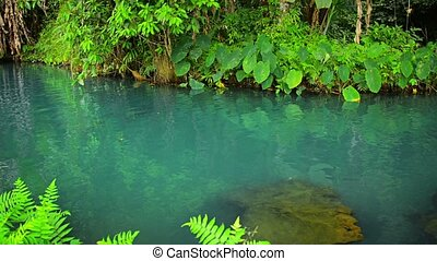 Clear Water of Blue Lagoon in Vang Vieng, Laos - Video...