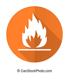 llama, naranja, plano, icon, ,