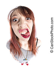 Close up Funny Young Woman with Tongue Out, Zooming her Face...