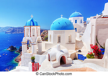 Oia town on Santorini island, Greece. Aegean sea - Oia town...