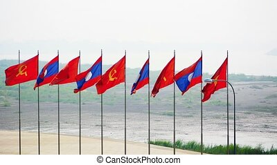 Patriotic Flag Display in Vientiane, the Capital of Laos -...