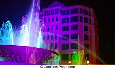 Colorful, Nighttime Light Show at Nam Phu Fountain in Vientiane, Laos