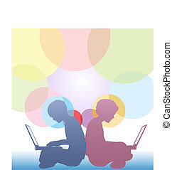 Girl and boy use laptops on abstract circles background -...