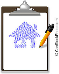 Pen drawing House Plan on Paper and Clipboard - An orange...