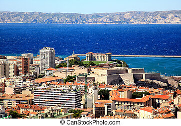 Aerial view of Marseille City France
