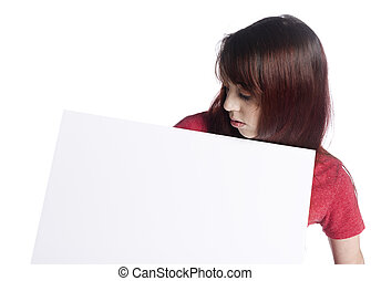 Young Woman Looking at her Blank White Board
