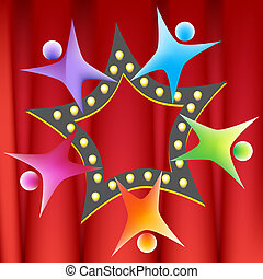 Teamwork Star illustration image on a red curtain background...