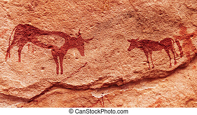 Rock paintings in Sahara Desert, Algeria - Ancient rock...