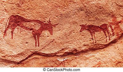 Rock paintings in Sahara Desert, Algeria - Ancient rock...