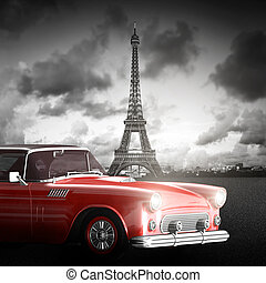 Effel Tower, Paris, France and retro red car. Black and...