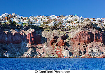 Fira, the capital of Santorini island, Greece as seen from...