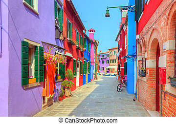 Colorful houses on Burano island, near Venice, Italy....