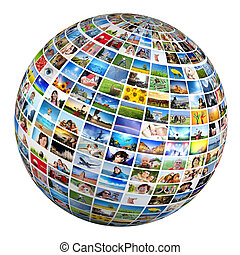 Globe, ball with various pictures of people, nature,...