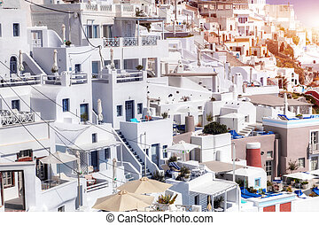 Fira town on Santorini island, Greece. Traditional...