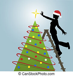 Silhouette Woman Puts Decorations on Christmas Tree