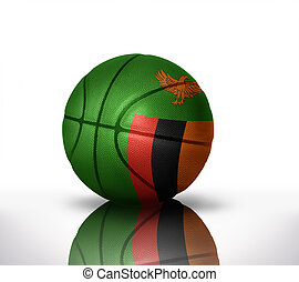 zambian basketball - basketball ball with the national flag...