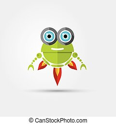 Cartoon Character Cute green Robot Isolated on Grey Gradient