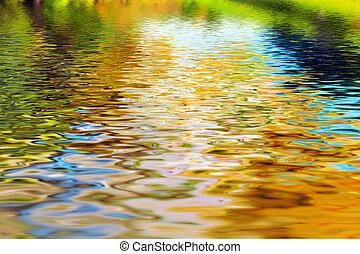 acqua, pulito, riflessione, albero, onde