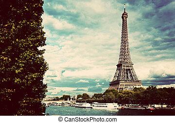 Eiffel Tower and Seine River, Paris, France. Vintage