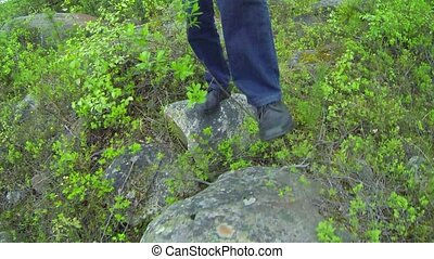 Legs and Feet of a Hiker in Thailand - Video 1080p -...