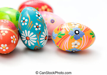 Hand painted Easter eggs on white. Spring patterns art,...