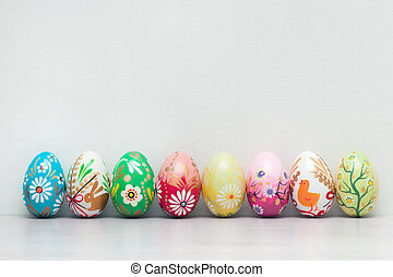 Handmade Easter eggs collection. Spring patterns art, unique.